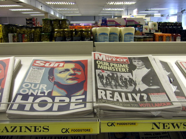 Supermarket newspapers, general election day 2010