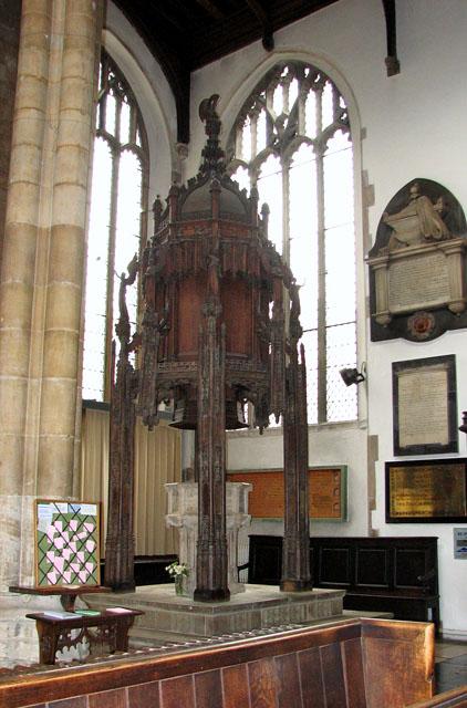 St Peter Mancroft, Norwich - baptismal font and font canopy
