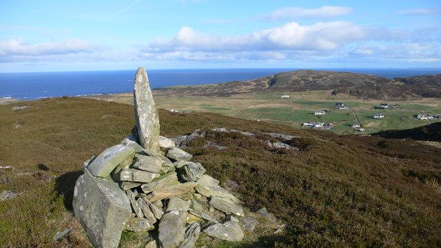 Cairn marker overlooking Lower Kilchattan