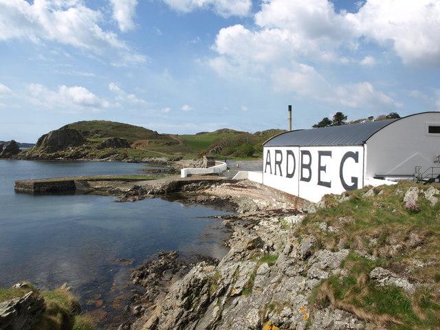 Ardbeg distillery and pier