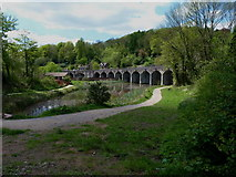 SJ6604 : Upper Furnace Pool and the railway viaduct by Richard Law