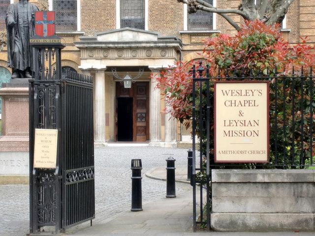 Entrance to Wesley's Chapel, City Road, London EC1