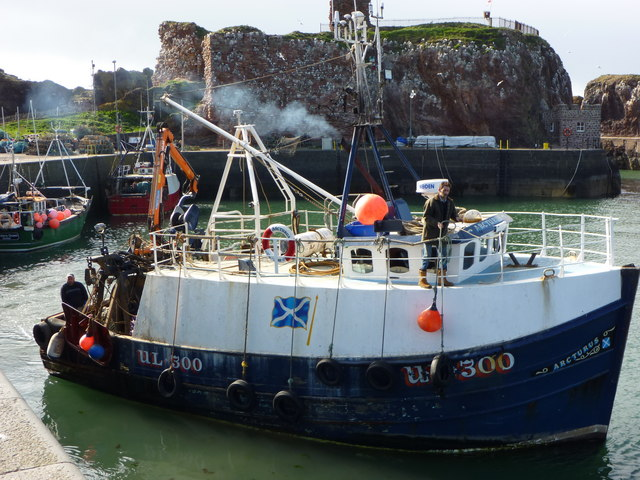 Getting Under Way : The Arcturus Leaving Victoria Harbour, Dunbar