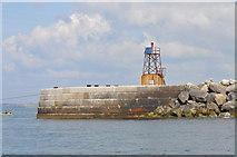SY7074 : Breakwater end at South entrance, Portland Harbour by Nick Mutton
