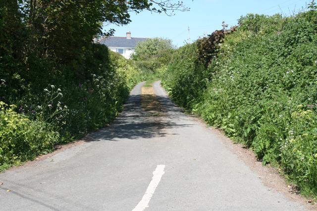 Noss Mayo: lane to Rowden Court