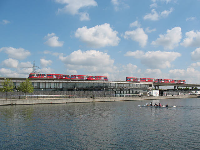 Docklands trains passing at Royal Albert Dock