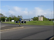 SP7190 : Lock Gates on an A6 roundabout by Michael Trolove