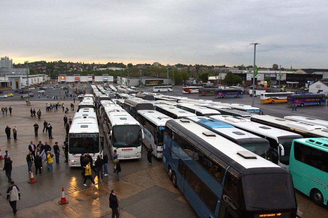 The coach park at Wembley Stadium