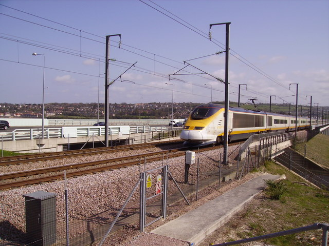 A St Pancras bound Eurostar leaves the Medway Viaduct