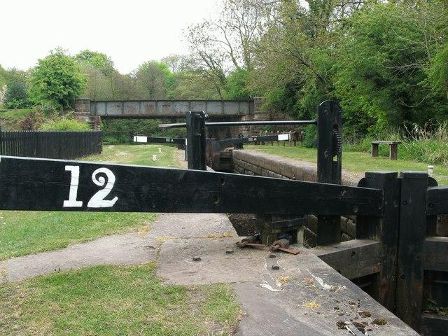 Disused railway bridge crosses Bosley Locks