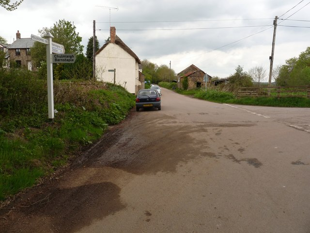 A road junction between Cole's Corner and Bridge Reeve Cross