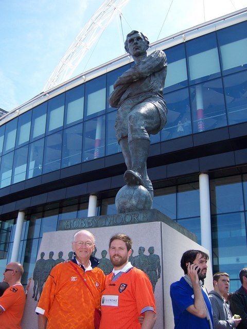 The Bobby Moore statue ... the place to meet at Wembley Stadium