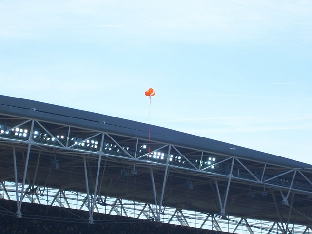 Tangerine Balloons over Wembley Stadium