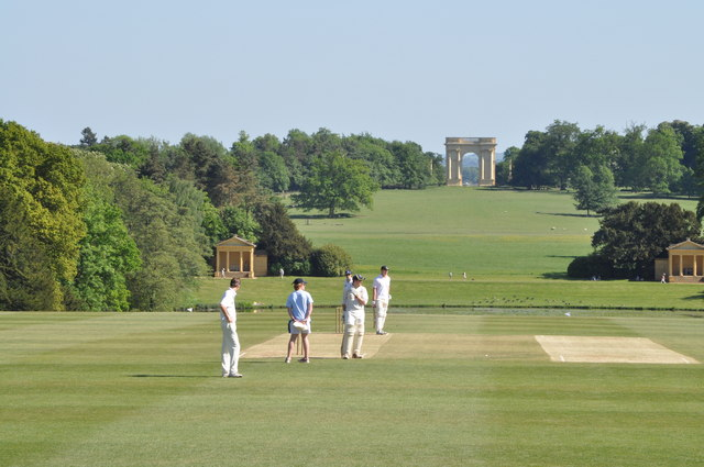 Cricket on the lawn at Stowe School