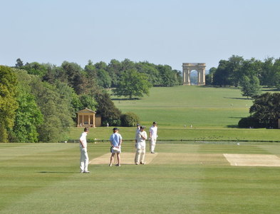 SP6836 : Cricket on the lawn at Stowe School by Sean Goodhart
