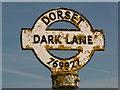 SY7692 : Tincleton: detail of Dark Lane finger-post by Chris Downer
