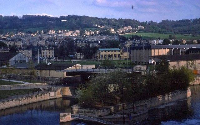 Looking across the River Avon in Bath (1976)