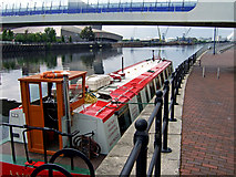 SJ8097 : L S Lowry barge with bridge and War Museum by Bob Abell