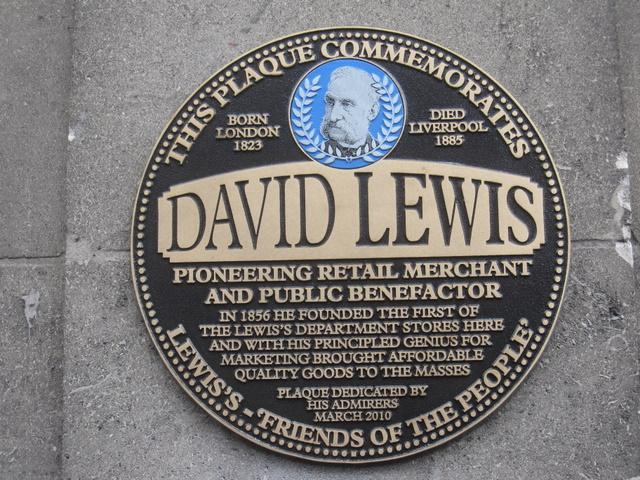Lewis's - plaque for founder David Lewis