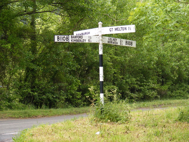 Roadsign on the B1108 Watton Road