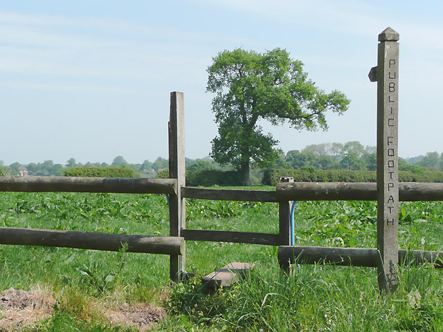 Footpath and stile at Oulton, Staffordshire