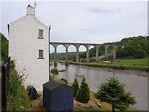 SX4368 : House and viaduct, Calstock by Derek Harper