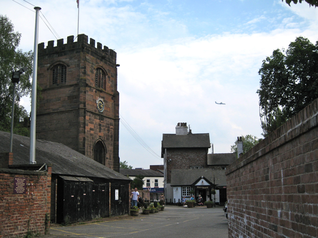 Cheadle: St Mary's church, the White Hart and jet