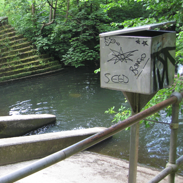 Box by Micker Brook weir, Cheadle