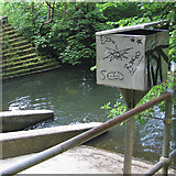 SJ8588 : Box by Micker Brook weir, Cheadle by Robin Stott