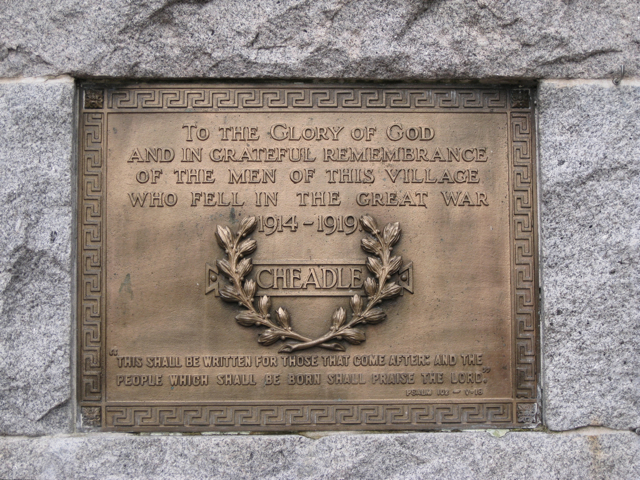 Cheadle War Memorial, Manchester Road: 2
