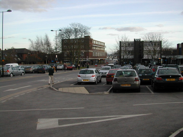 Abbey End car park looking towards Station Road, Kenilworth