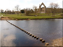 SE0754 : Bolton Abbey: stepping stones and priory by Chris Downer