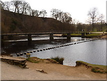 SE0754 : Bolton Abbey: stepping stones and footbridge by Chris Downer