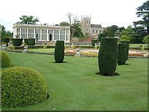 SK9239 : Gardens of Belton House with Orangery and Church by David Gearing
