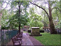 TQ3282 : Row of benches in Bunhill Fields by David Martin