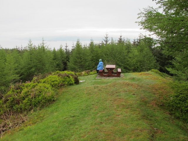 Picnic table by the Kintyre way