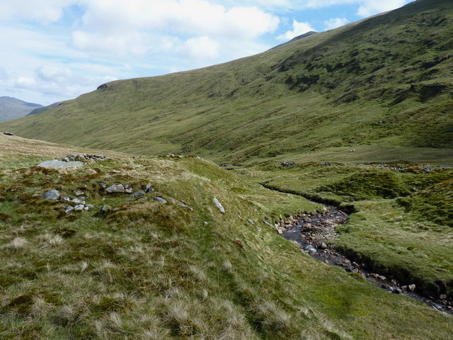 Shielings high in the glen of the Allt a' Chobhair