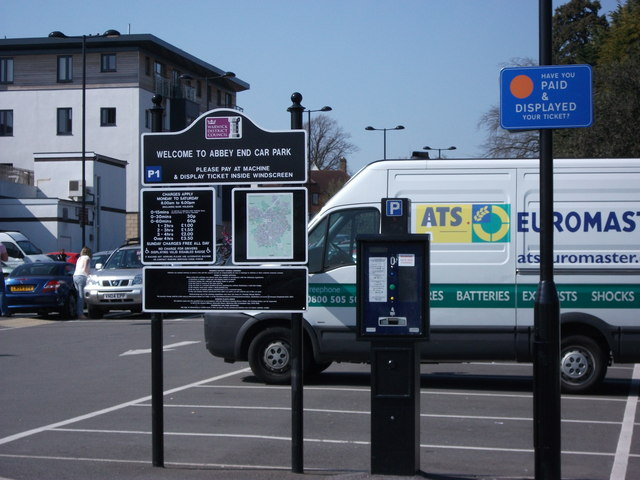 Car park ticket machine and charges, Abbey End, Kenilworth