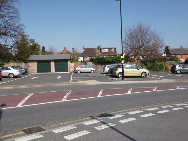 Rear of properties in Southbank Road, seen from Abbey End car park, Kenilworth