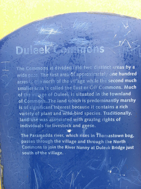 Information plaque at Commons, Duleek