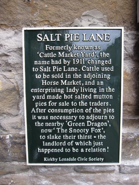 Salt Pie Lane information plaque