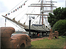 ST1974 : Tall ship with sculptures - Cardiff by Mick Lobb