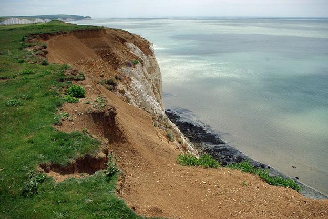 Cliff top erosion, Seaford Head area