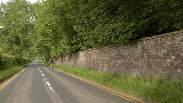Ashley Road alongside the wall of Tatton Park estate