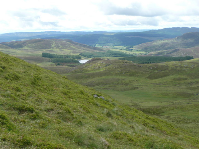 Looking down the blaeberry covered slopes of Sròn Charnach