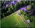TL8562 : Entrance to Hardwick Heath from the air by John Goldsmith