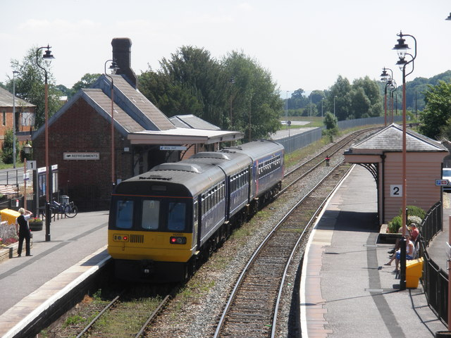 Train for Exeter stands at Crediton Station