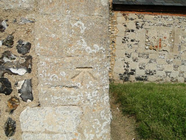 Bench Mark at Tattersett church, Norfolk