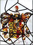TF7928 : St Martin's church in Houghton - heraldic glass by Evelyn Simak
