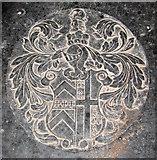 TF7928 : St Martin's church in Houghton - ledger slab (detail) by Evelyn Simak